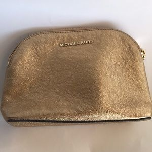 NEW Michael Kors Travel Pouch Gold Leather